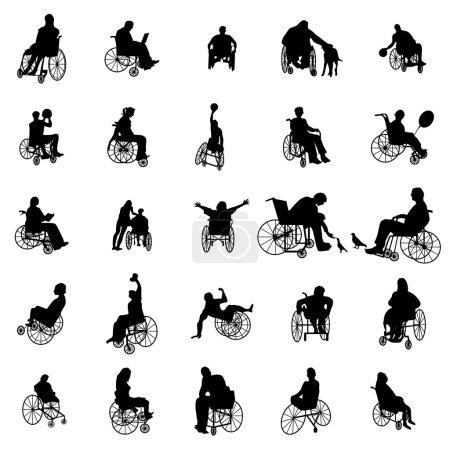 Illustration pour Homme et femme en fauteuil roulant silhouettes mis isolé sur blanc - image libre de droit