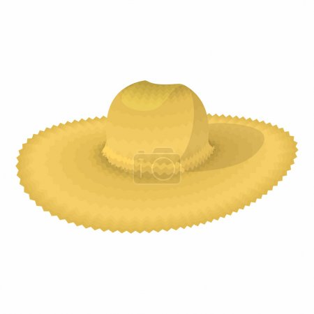 Illustration for Straw hat cartoon icon isolated on a white background - Royalty Free Image