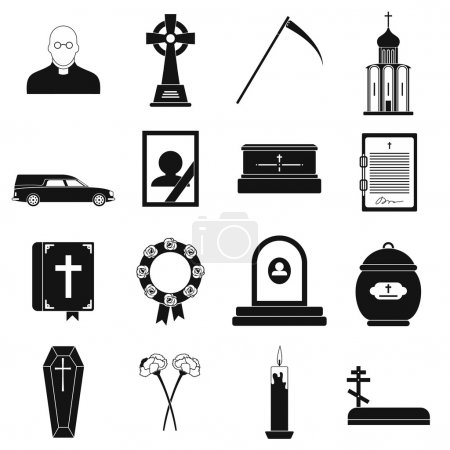 Funeral and burial black simple icons