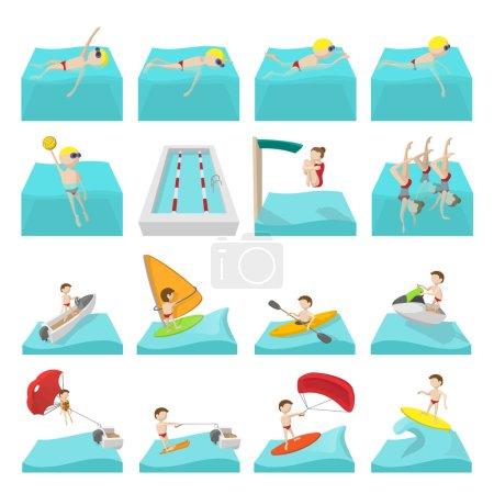 Water sport cartoon icons