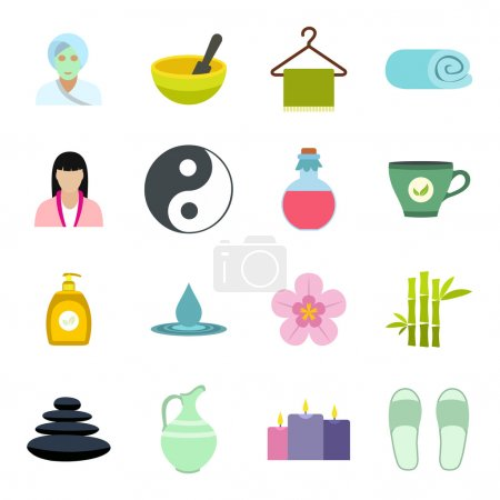 Illustration for Spa flat icons set for web and mobile devices - Royalty Free Image