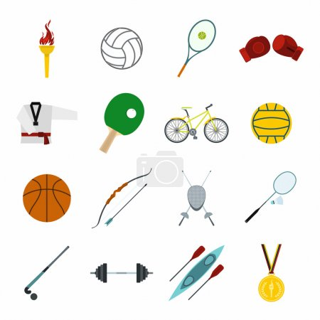 Summer sport flat icons set