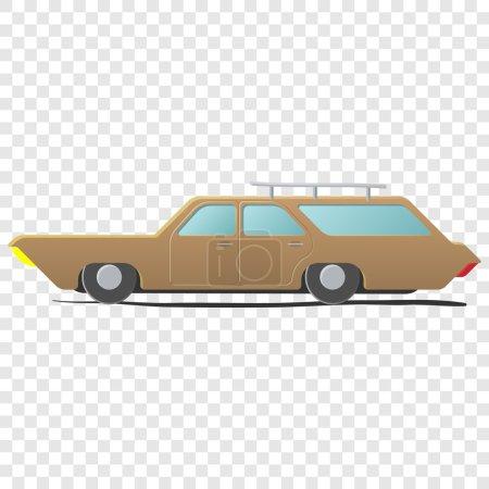 Illustration pour Chariot de gare voiture de dessin animé. Illustration unique sur fond transparent - image libre de droit