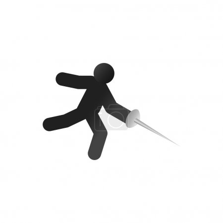 Fencing athlete isometric 3d icon