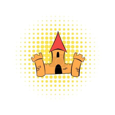 Illustration pour Château médiéval forteresse BD icône. Avec tour de donjon. Symbole unique sur un blanc - image libre de droit