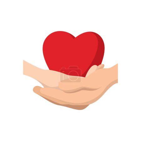 Heart in hands cartoon icon