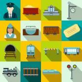Railroad flat icons set