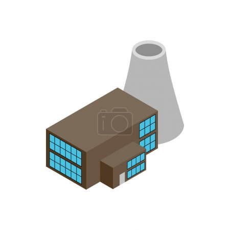 Nuclear power plant 3d isometric icon