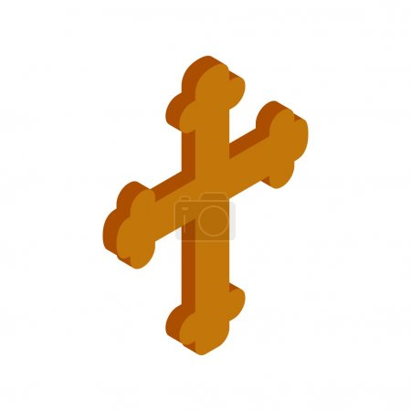 Religious symbol of crucifix isometric 3d icon