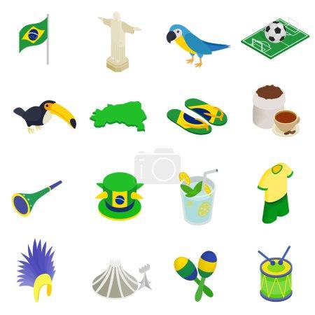 Brazil isometric 3d icons