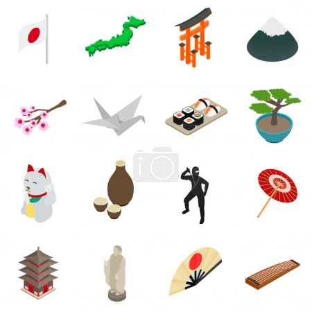 Photo for Japan isometric 3d icons set isolated on white background - Royalty Free Image