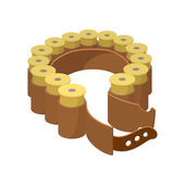 Shotgun shell collected bandolier on the belt Cartoon icon isolated on a white background