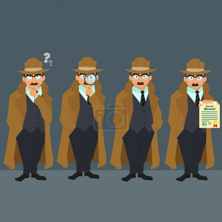 Illustration for Detective in a raincoat and hat. strict police in civilian clothes. character. vector illustration of a flat style. - Royalty Free Image
