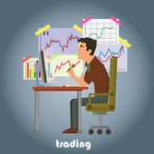 A vector illustration of a stock trader in his office