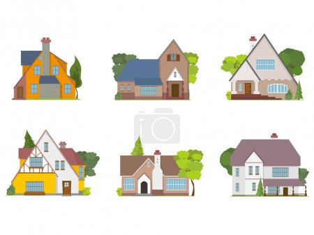 Illustration for Town houses and cottages isolated flat icons. - Royalty Free Image