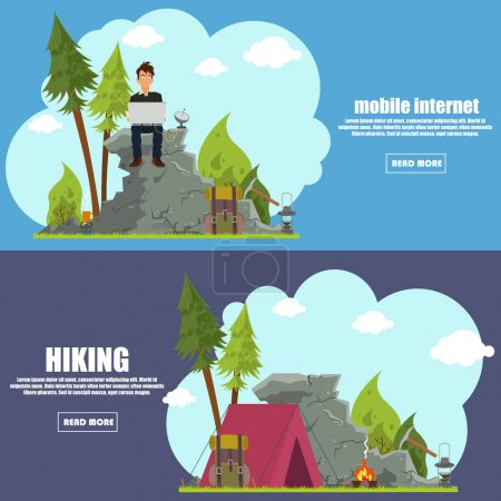 Illustration for Colourful camping flat banner set for your business, web sites etc. Quality design illustrations, elements and concept. vector illustration. - Royalty Free Image