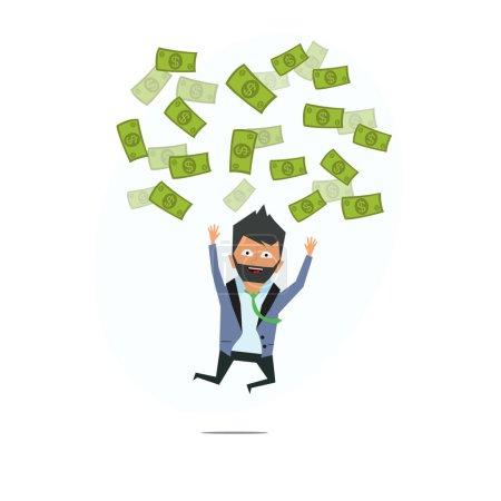 successful entrepreneur. money rain.