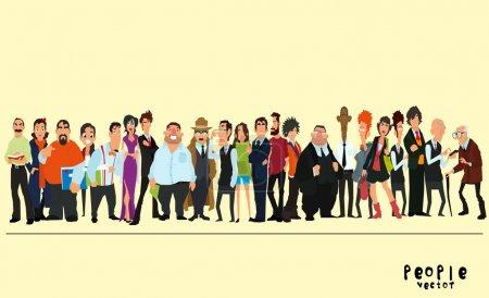 Photo pour Un groupe de personnes sur fond jaune. illustration vectorielle d'un style plat . - image libre de droit