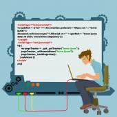 Arbeit eines Programmierers. moderne Computertechnik