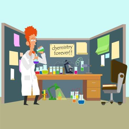 researcher mixes substances in test tubes.