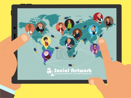 Illustration pour La disponibilité de la communication entre les personnes de différents pays par le biais des réseaux sociaux. le concept du monde libre. illustration vectorielle d'un style plat . - image libre de droit