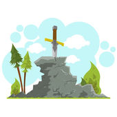 Excalibur waits for the liberator - a great warrior and king Sword in the Stone vector illustration