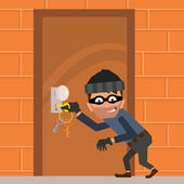 Cartoon thief tries to break down the door vector illustration in a flat style
