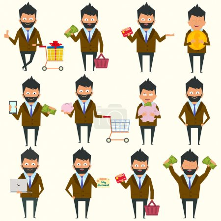 Illustration for Urban character set in different poses. fashionable man in various poses. shopping, money, card. vector illustration of a flat style. - Royalty Free Image