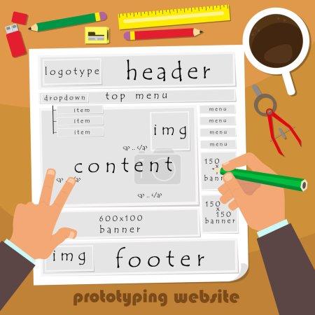 Illustration pour Prototype de site web. modélisation du futur site web sur papier. illustration vectorielle d'un style plat. première personne . - image libre de droit