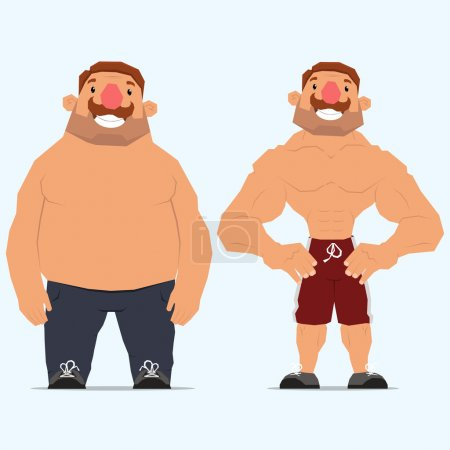 man before and after sports