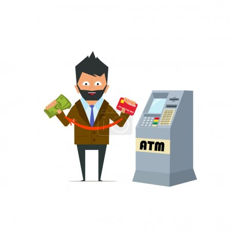 person withdraws money from an ATM.