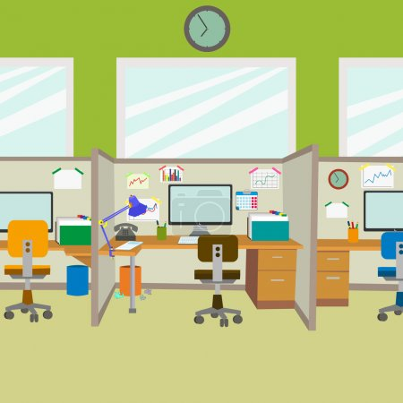 Illustration for Modern office. workplace in the office of the corporation. workplace before the workday. empty office in the morning. vector. - Royalty Free Image