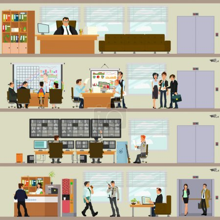 Illustration for Scenes of people working in the office. Interior office. Vector illustration in a flat style. - Royalty Free Image