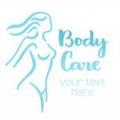 Woman body care silhouette