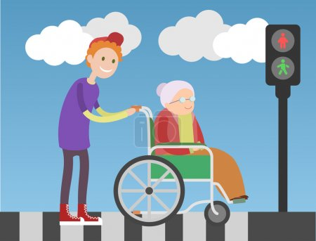 Illustration for Kind boy helps old lady in wheelchair. People crossing the road. Blue sky and clouds on background. - Royalty Free Image