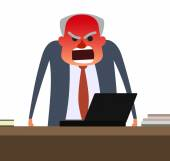 Angry boss with face getting red.