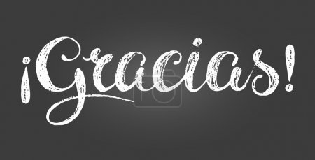 Illustration for Chalk lettering inscription in Spanish. Means thank you. White letters on gray gradient background. Hand drawn composition. Straight and inverted exclamation mark. Decoration for store or cafe. - Royalty Free Image