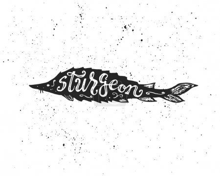 Sturgeon lettering in silhouette.