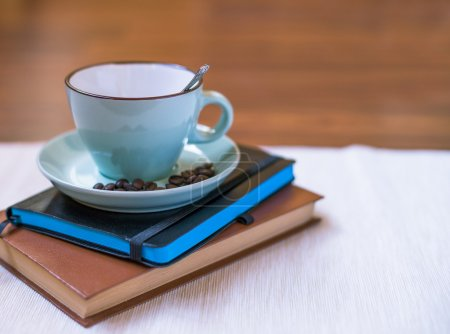 coffee with book and notebook
