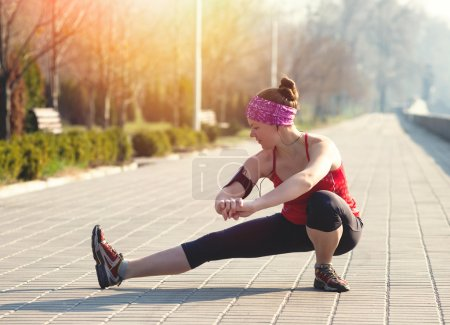 Sport woman have stretching training outside in morning