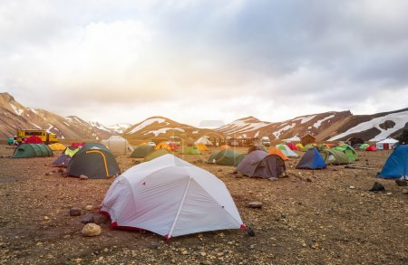 Tents stands in camping Landmannalaugar, Iceland.