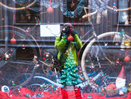 Selfie in Bike shop with christmas decorations in downtowd Gothenburg, Sweden