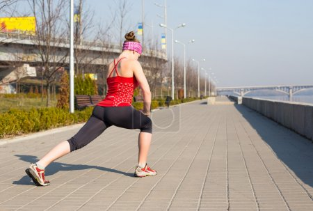 Sport woman have stretching training outside