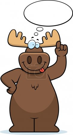 Illustration for A happy cartoon moose thinking and smiling. - Royalty Free Image