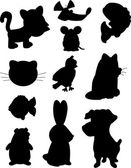 A variety of different cartoon pet silhouettes