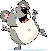 A happy cartoon koala dancing and smiling