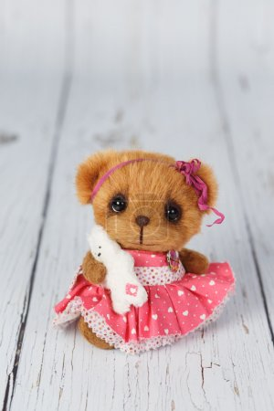 Brown artist teddy bear in pink dress one of kind