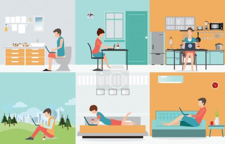 Freelance set with Various cartoon character design working at h