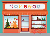 Toy shop window display exterior building kids toys vector illustration