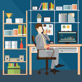 Business man talking on the phone in office Interior office room office desk conceptual vector illustration